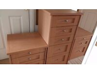 pine effect 2x bedside drawers 1 x chest of drawers