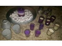 Silver/purple glass candle sets