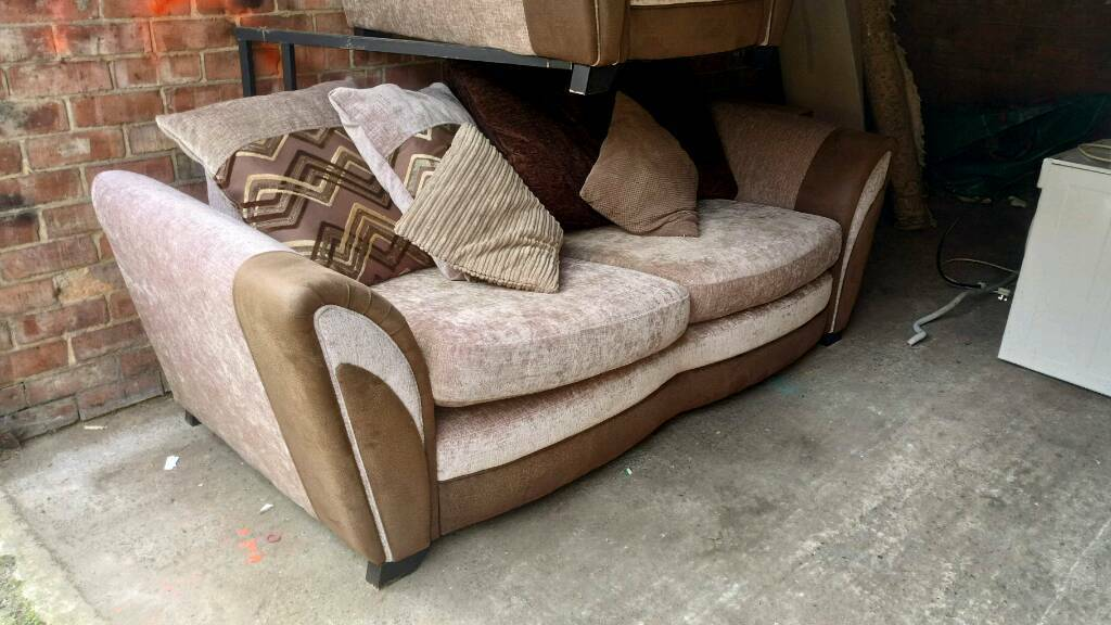 Brown 3 seater sofa with armchair