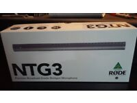 Rode NTG3 condenser microphone for broadcasting