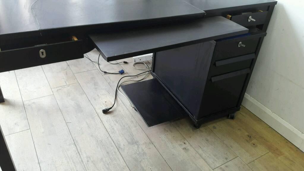 2 x Dark wood office desks