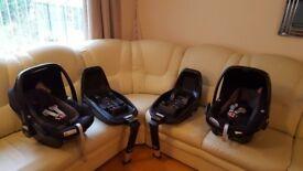Maxicosi pebble plus car seats and isofix units (X2)