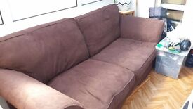 Large 3 seater brown sofa