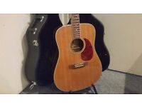 Peerless PD-55 Acoustic Guitar & Case - Dreadnought Series - Collection Only.