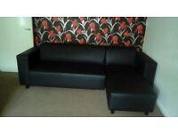 Black faux leather corner sofa x 2