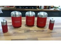 Tea, Coffee & Sugar Canisters and salt & pepper grinders in Red & Silver and