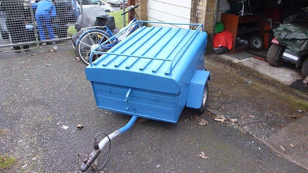 Box Trailer for Sale, complete with hinged top and roof rack, built in lights and spare wheel.
