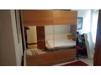 Large Capacity Ikea Pax Double Wardrobe with Sliding Mirrored Doors (To be collected by 17/12/17)