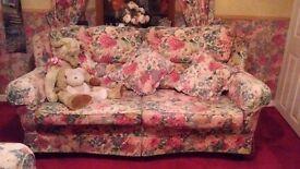 3 & 2 seater Sanderson peony rose fabric sofa