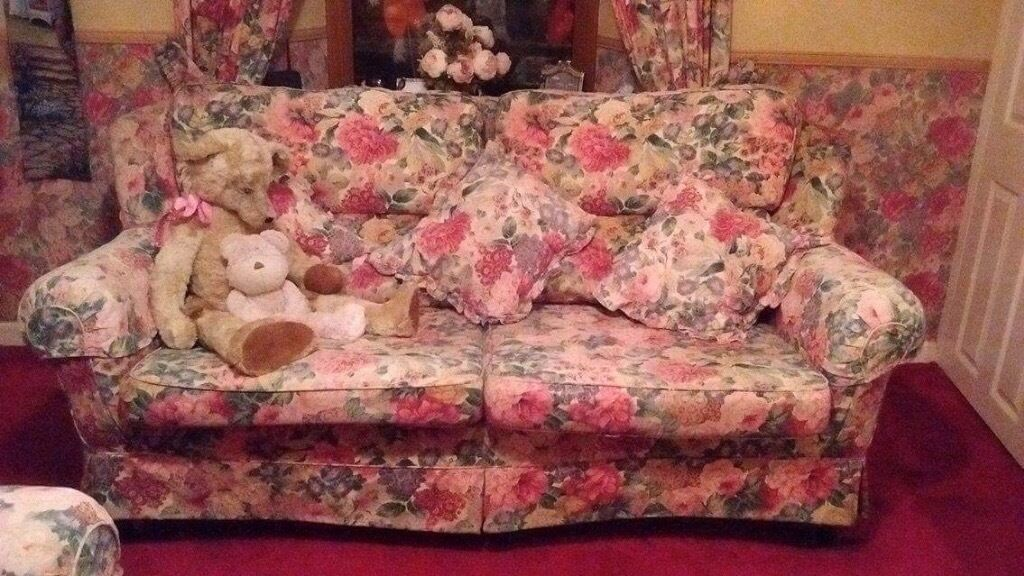 3 & 2 seater Sanderson peony rose fabric sofa | in Fraserburgh ...