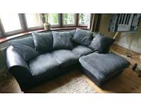Black and grey leather/fabric corner sofa - good condition