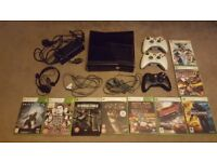 Xbox 360 Console - Boxed - 250GB in Black + 3 Controllers + Headset + 9 Games