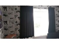 Black curtains with track