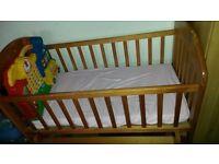 Rocking Wooden Crib With Free Toy/Mattress