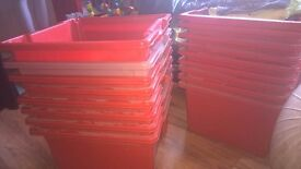 STORAGE CRATES X 35 RED HEAVY DUTY FOR MOVING GARAGE RECORDS TOOLS ETC