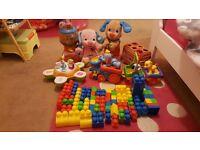 Fantastic toy bundle: Disney train, V-tech bears, Mega Blocks, Tumbling balls game