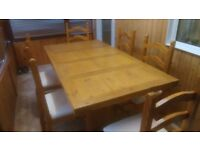 Large Rustic Pine Farmhouse Table And Chairs