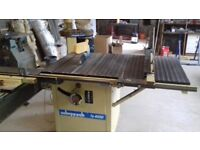 Scheppach bench saw, extensiobn table, moving crosscut table and dust extraction unit.