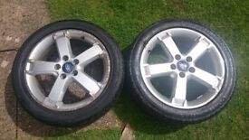 Pair Of Ford Focus / Mondeo 17inch Alloy Wheels