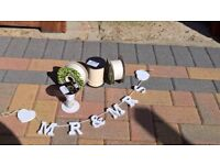 Wedding ribbon + wooden mr & mrs sign