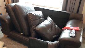 3 seater brown settees
