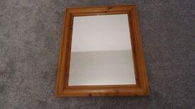 Large pine bevelled mirror