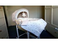 Millie and Boris Moses Basket + Rocking Stands + Fitted Sheets