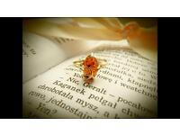 14K gold ring with amber stone