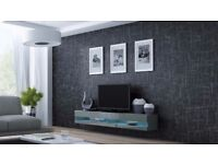 High Gloss + LED Tv Stand Cabinet new grey new box include lights