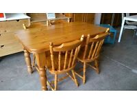 Farmhouse pine table with drawer and 4 chairs
