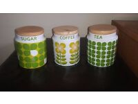 Tea, Sugar, Coffee canisters from Next
