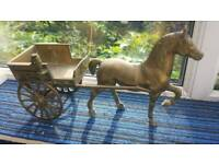 Brass horse and cart