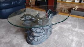 OVAL GLASS TOP COFFEE TABLE -with Dolphin featured base