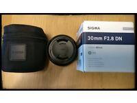 Sigma Art 30mm F2.8 DN sony E mount lens.
