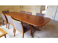 Boardroom meeting table with 10 chairs - wooden & upholstered, good condition