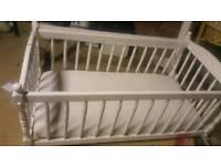 Babies wooden crib and mattress