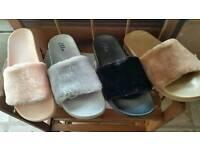 Ladies faux fur fluffy slider sandals