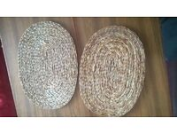 2 x natural fibre woven place settings large and thick