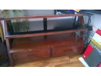 possible delivery Wood and glass sideboard tv unit 2 drawers