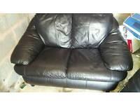 Real black leather 2 setter sofa