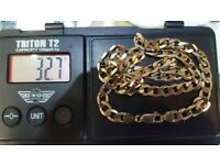 """9ct solid gold curb chain. 22"""". 32.7g weight."""