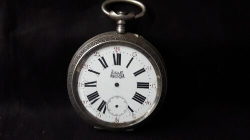 ANTIQUE POCKET WATCH STERLING SILVER BOX BIG SIZE TRAIN ROSKOFF SOLD AS IS