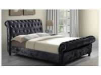 King size crushed velvet bed frame with diamonds