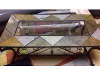 Chinese slate rod iron glass coffee table