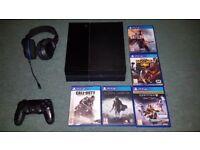 PS4 Bundle; with Wireless Turtle Beach, Controller and 5 Games