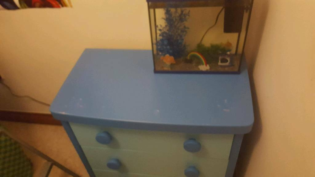 Ikea mammut bedroom furniture blue chest of drawers and bedside table