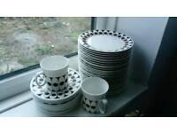 Black Velvet hostess tableware, bulk joblot, plates, cup