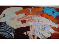 17 items Baby boy clothes bundle sleepsuits,joggers, hat tops, dressing-gown size 3-6 months