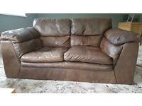 Brown Leather Sofas. One 2 seater and one 3 seater. Bargain price!