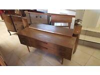Retro Wood Veneer Dressing Table in Good Condition